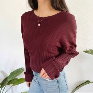 Claiborne maroon ribbed slouchy crewneck sweater